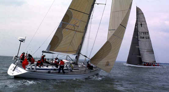 Northern Child with GBR 1 Americas cup yacht in the Solent